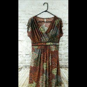 Dresses & Skirts - dress peacock brown 1x Xl v-neck EUC